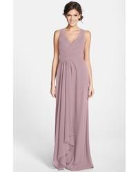 Monique Lhuillier Bridesmaids Sleeveless V Neck Chiffon Gown