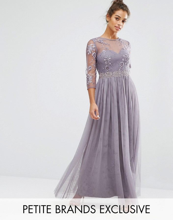 5266b8cd054 ... Little Mistress Petite Premium Embroidered Maxi Dress With Pleated Skirt  ...