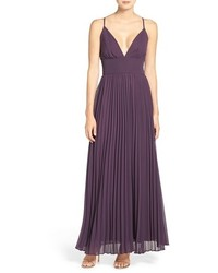 LuLu*s Lulus Plunging V Neck Pleat Georgette Gown