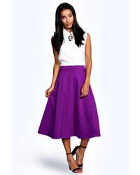 Purple Pleated Midi Skirt
