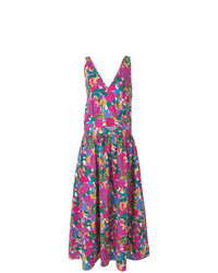 La Doublej Long V Neck Print Dress