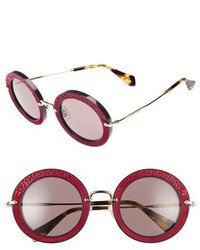 Miu Miu 48mm Round Sunglasses Ivory