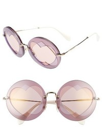 Miu Miu 62mm Heart Inset Round Sunglasses Lilac Mix