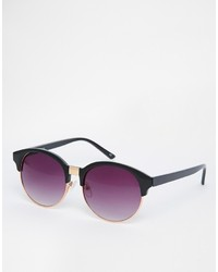 Asos Collection Half Frame Round Sunglasses