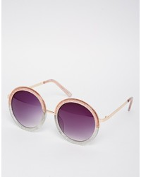 Asos Collection Round Sunglasses With Metal Bridge Detail