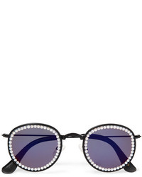 Freda Banana Vic Embellished Faux Leather Trimmed Round Frame Metal Sunglasses Purple