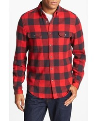 Topman Buffalo Check Shirt Red Large