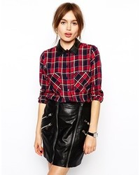 Collection red check shirt with pu collar medium 129995