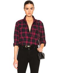 Saint Laurent Plaid Tartan Oversize Shirt