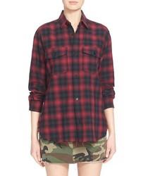 Saint Laurent Raw Edge Check Print Shirt