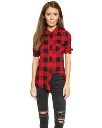Red and Black Gingham Dress Shirt