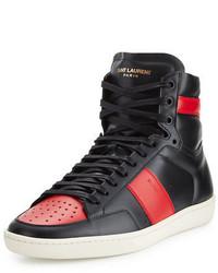 Saint Laurent Contrast Stripe Leather High Top Sneaker