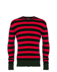 Red and Black Horizontal Striped Crew-neck Sweater