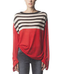 Acne Studios Long Sleeve Striped Silk Top Poppy Red