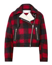 Red and Black Plaid Biker Jacket