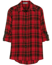 Red and Black Plaid Button Down Blouse
