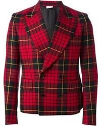 Red and Black Plaid Wool Blazer