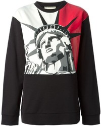 Red and Black Print Crew-neck Sweater