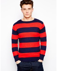 Red and Navy Horizontal Striped Crew-neck Sweater