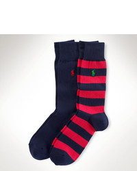 Red and Navy Horizontal Striped Socks