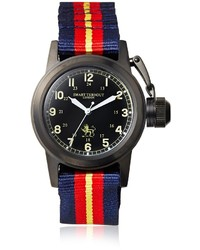 Red and Navy Horizontal Striped Watch