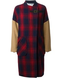 Panelled checked coat medium 141681