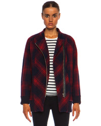 Plaid wool cacoon coat medium 141680