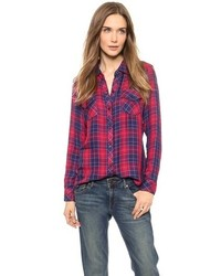 Red and Navy Plaid Dress Shirt