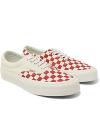 Red and White Canvas Low Top Sneakers