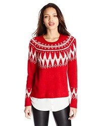 Red and White Crew-neck Sweater