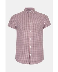 Red and White Gingham Short Sleeve Shirt