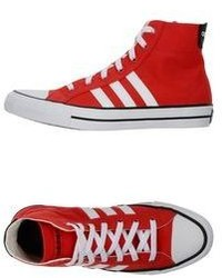 Red and White High Top Sneakers