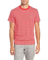 Red and White Horizontal Striped Crew-neck T-shirt