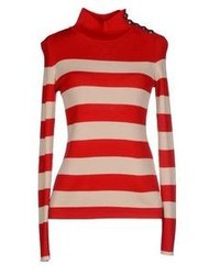 Red and White Horizontal Striped Turtleneck