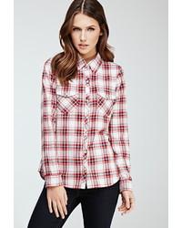 Red and White Plaid Dress Shirt