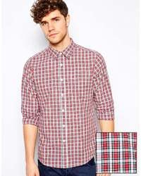 Shirt in long sleeve with plaid check red medium 32616