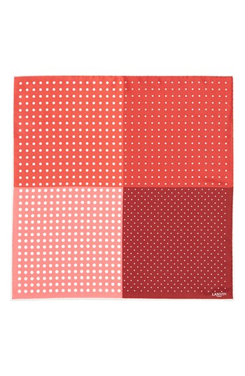 Lanvin Polka Dot Silk Pocket Square Red One Size