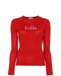 Bella Freud Wool Crewneck Sweater With Kiddo Slogan