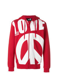 Red and White Print Hoodie