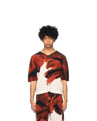 Red and White Print V-neck T-shirt