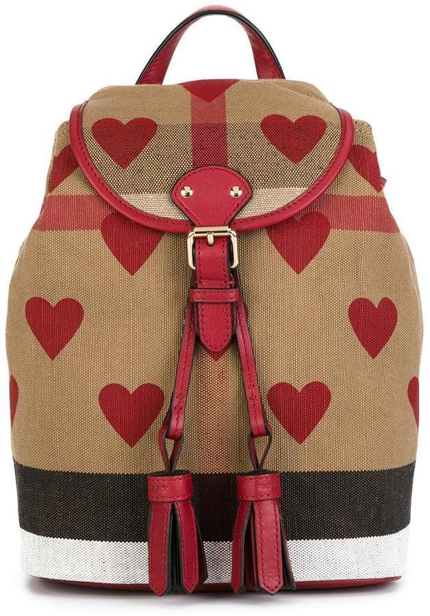 Burberry Kids Heart Print Check Mini Backpack Where To Buy How