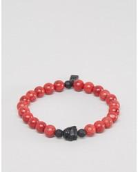 Icon Brand Beaded Bracelet In Red