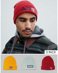 Analog Beanie 3 Pack In Redyellowgrey