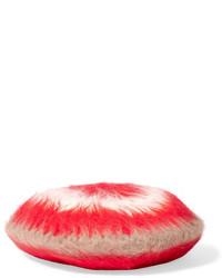 Striped angora blend beret red medium 706603