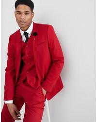 ASOS DESIGN Skinny Suit Jacket In Scarlet Red