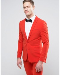 Asos Super Skinny Prom Suit Jacket In Tomato Red