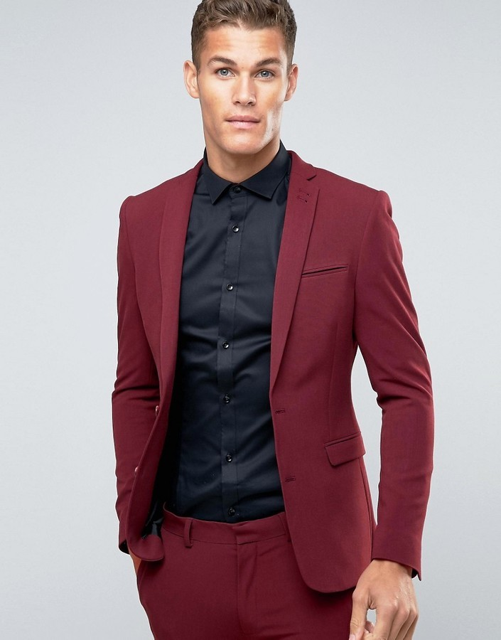 Asos Super Skinny Suit Jacket In Dark Red | Where to buy & how to wear