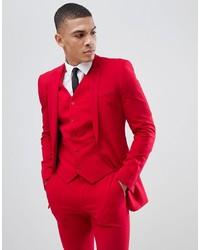 ASOS DESIGN Super Skinny Suit Jacket In Red