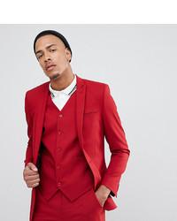 ASOS DESIGN Tall Skinny Suit Jacket In Scarlet Red