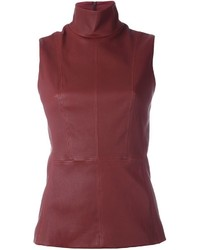 Thierry Mugler Mugler Leather Funnel Neck Top